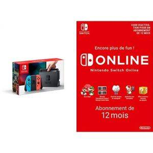 Nintendo Switch rouge neon/bleu neon + Switch Online 12 Mois