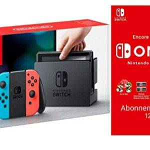 Nintendo Switch rouge neon/bleu neon + Switch Online 12 Mois Famille