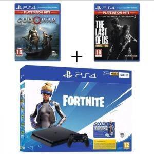 PS4 Slim 500 Go Noire Fortnite  + The Last Of Us  + God Of War