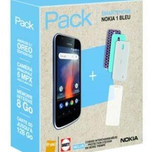 Nokia 1 Bleu + coques + protection écran