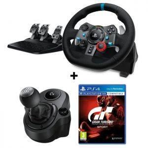 LOGITECH G29 Driving Force pour PS4 et PC + Levier de Vitesse Driving Force Shifter + Gran Turismo Sport PS4