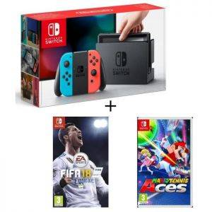 Pack Nintendo Switch Neon + Fifa 18 + Mario Tennis Aces