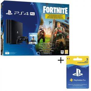 Pack PS4 PRO Noire 1 To + Fortnite + Abonnement Playstation Plus 3 Mois SONY