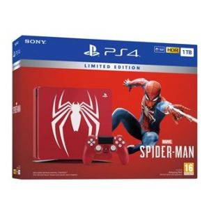 PS 4 Slim 1 To Rouge + Manette DualShock Edition Speciale Spider-man